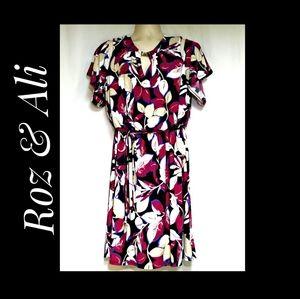 Roz & Ali Cold Shoulder Multicolor Dress Size 1X